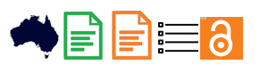 Five icons. Outline of Australia, one green document, one orange document, four black bullet points and horizontal lines, a white outline of an open padlock on an orange background